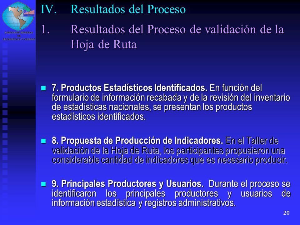 20 7. Productos Estadísticos Identificados. En función del formulario de información recabada y de la revisión del inventario de estadísticas nacional