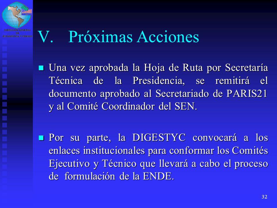 32 V.Próximas Acciones Una vez aprobada la Hoja de Ruta por Secretaría Técnica de la Presidencia, se remitirá el documento aprobado al Secretariado de