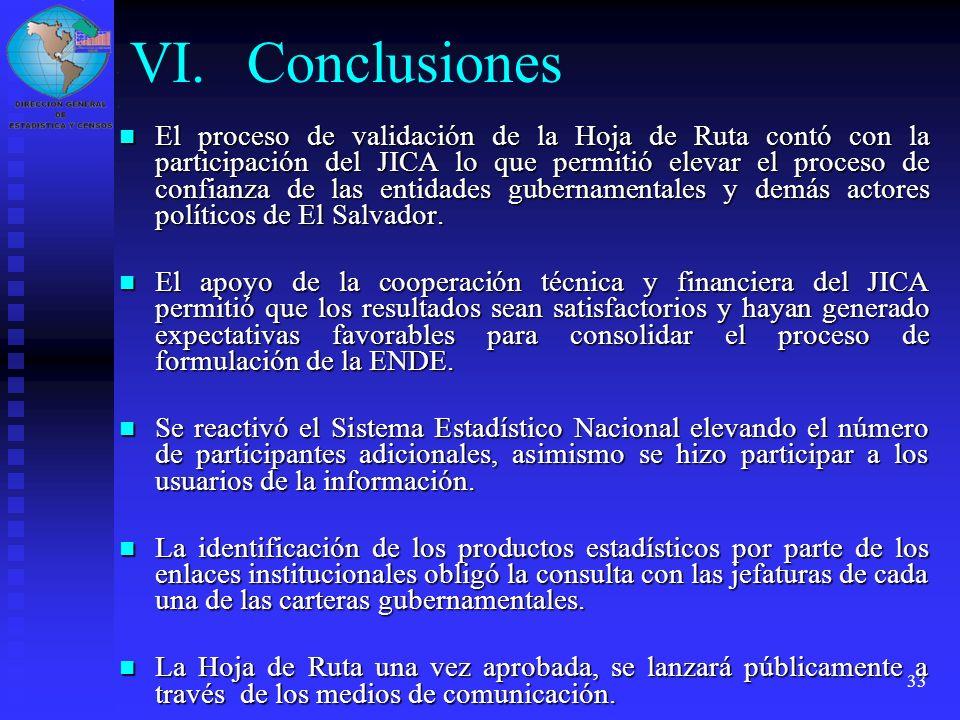 33 VI.Conclusiones El proceso de validación de la Hoja de Ruta contó con la participación del JICA lo que permitió elevar el proceso de confianza de l