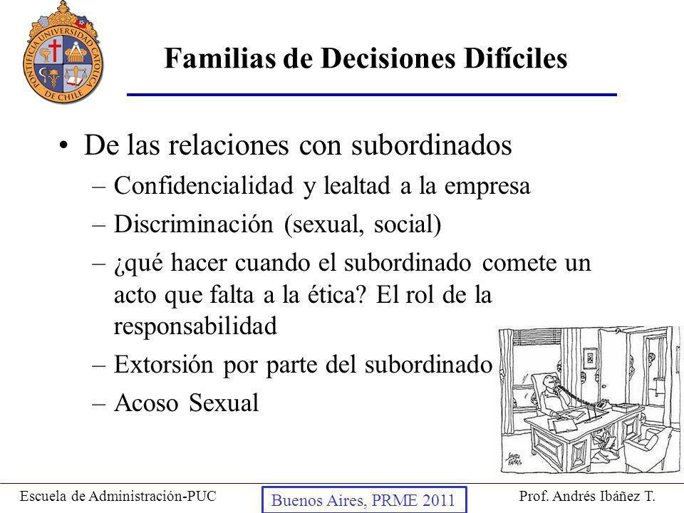 Prof. Andrés Ibáñez T.Escuela de Administración-PUC Puerto Montt, 2008 De las relaciones con subordinados –Confidencialidad y lealtad a la empresa –Di