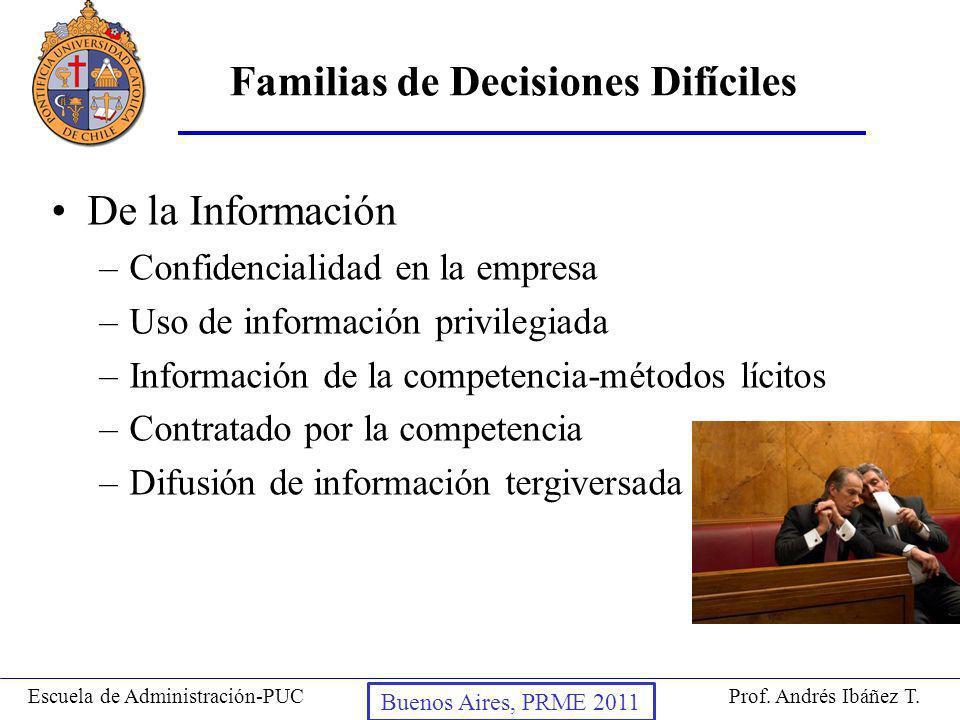 Prof. Andrés Ibáñez T.Escuela de Administración-PUC Puerto Montt, 2008 De la Información –Confidencialidad en la empresa –Uso de información privilegi