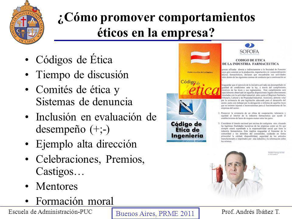 Prof. Andrés Ibáñez T.Escuela de Administración-PUC Puerto Montt, 2008 ¿Cómo promover comportamientos éticos en la empresa? Códigos de Ética Tiempo de