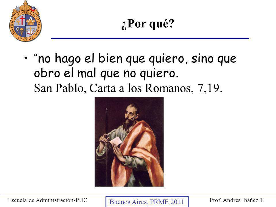 Prof. Andrés Ibáñez T.Escuela de Administración-PUC Puerto Montt, 2008 ¿Por qué? no hago el bien que quiero, sino que obro el mal que no quiero. San P