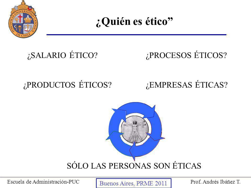 Prof. Andrés Ibáñez T.Escuela de Administración-PUC Puerto Montt, 2008 ¿Quién es ético ¿SALARIO ÉTICO? ¿PRODUCTOS ÉTICOS?¿EMPRESAS ÉTICAS? ¿PROCESOS É