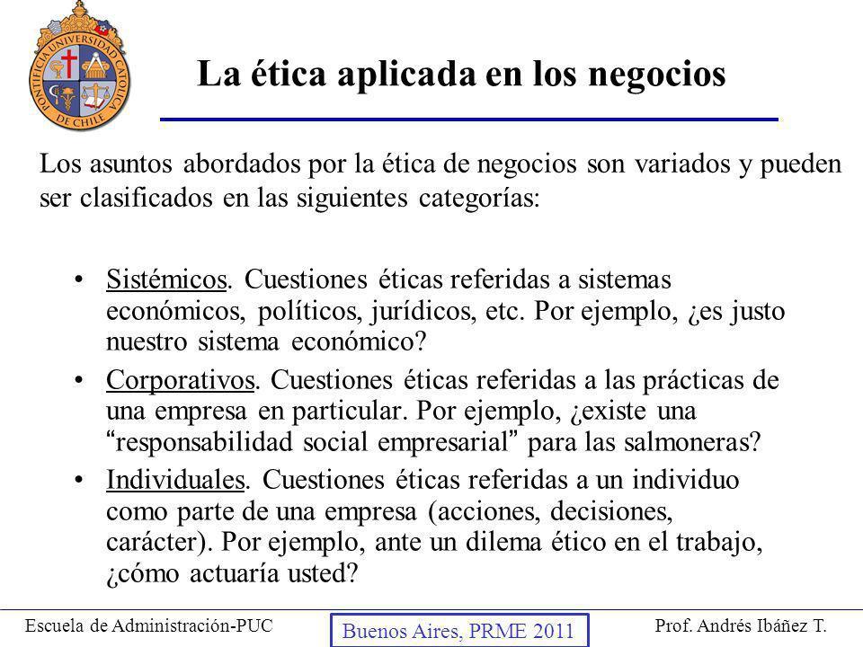 Prof. Andrés Ibáñez T.Escuela de Administración-PUC Puerto Montt, 2008 La ética aplicada en los negocios Sistémicos. Cuestiones éticas referidas a sis