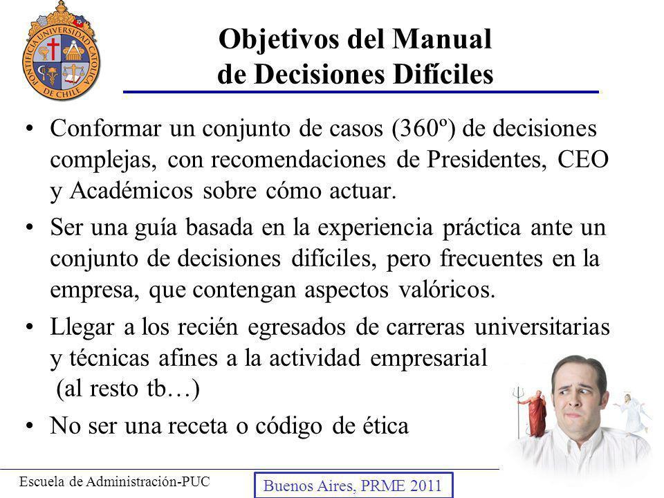 Prof. Andrés Ibáñez T.Escuela de Administración-PUC Puerto Montt, 2008 Objetivos del Manual de Decisiones Difíciles Conformar un conjunto de casos (36
