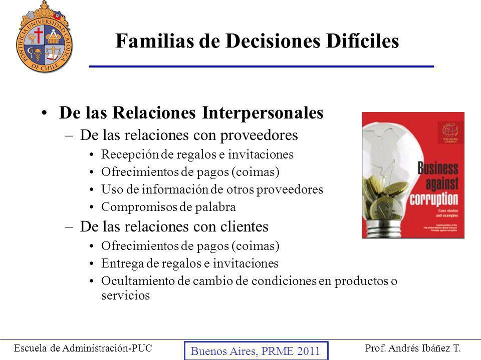 Prof. Andrés Ibáñez T.Escuela de Administración-PUC Puerto Montt, 2008 Familias de Decisiones Difíciles De las Relaciones Interpersonales –De las rela