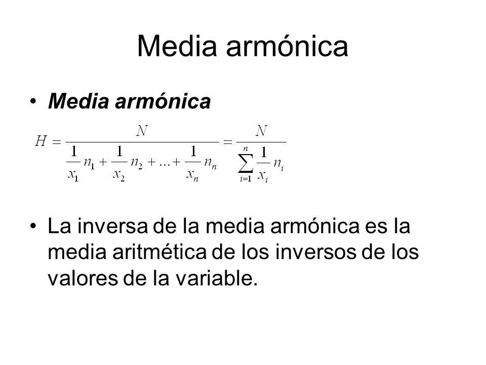 Media armónica La inversa de la media armónica es la media aritmética de los inversos de los valores de la variable.