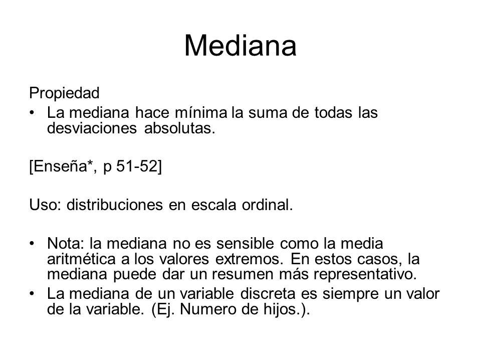 Mediana Propiedad La mediana hace mínima la suma de todas las desviaciones absolutas. [Enseña*, p 51-52] Uso: distribuciones en escala ordinal. Nota: