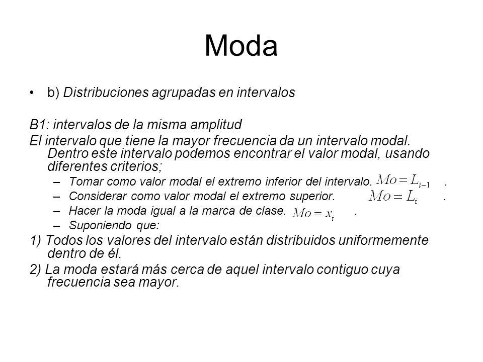 Moda b) Distribuciones agrupadas en intervalos B1: intervalos de la misma amplitud El intervalo que tiene la mayor frecuencia da un intervalo modal. D