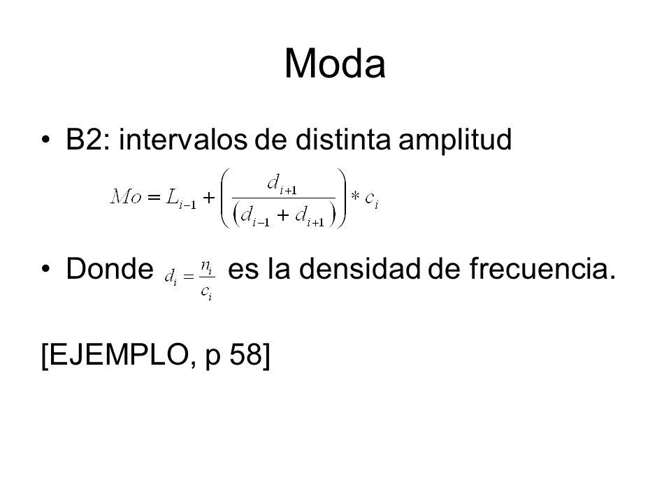 Moda B2: intervalos de distinta amplitud Donde es la densidad de frecuencia. [EJEMPLO, p 58]