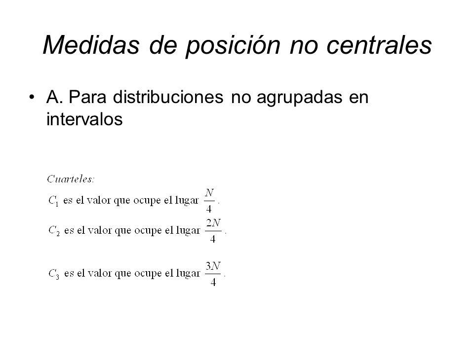 Medidas de posición no centrales A. Para distribuciones no agrupadas en intervalos