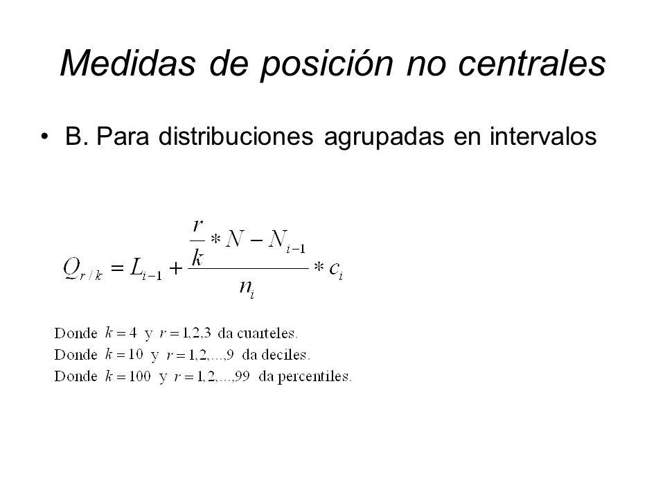 B. Para distribuciones agrupadas en intervalos