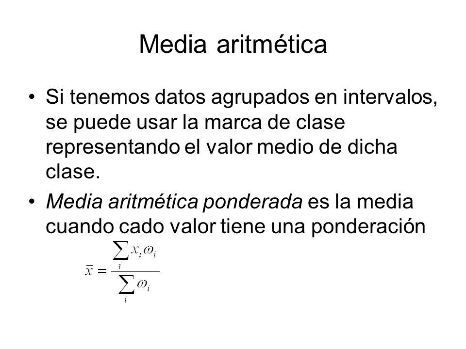 Media aritmética Si tenemos datos agrupados en intervalos, se puede usar la marca de clase representando el valor medio de dicha clase. Media aritméti
