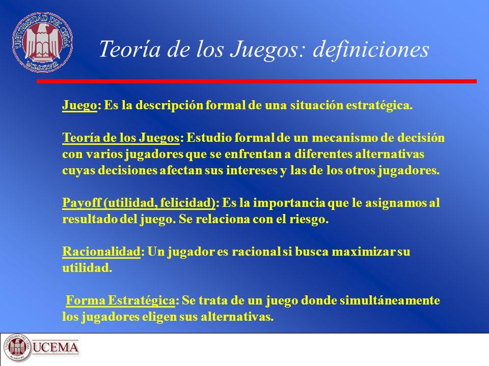 Teoría de los Juegos: definiciones Juego: Es la descripción formal de una situación estratégica. Teoría de los Juegos: Estudio formal de un mecanismo