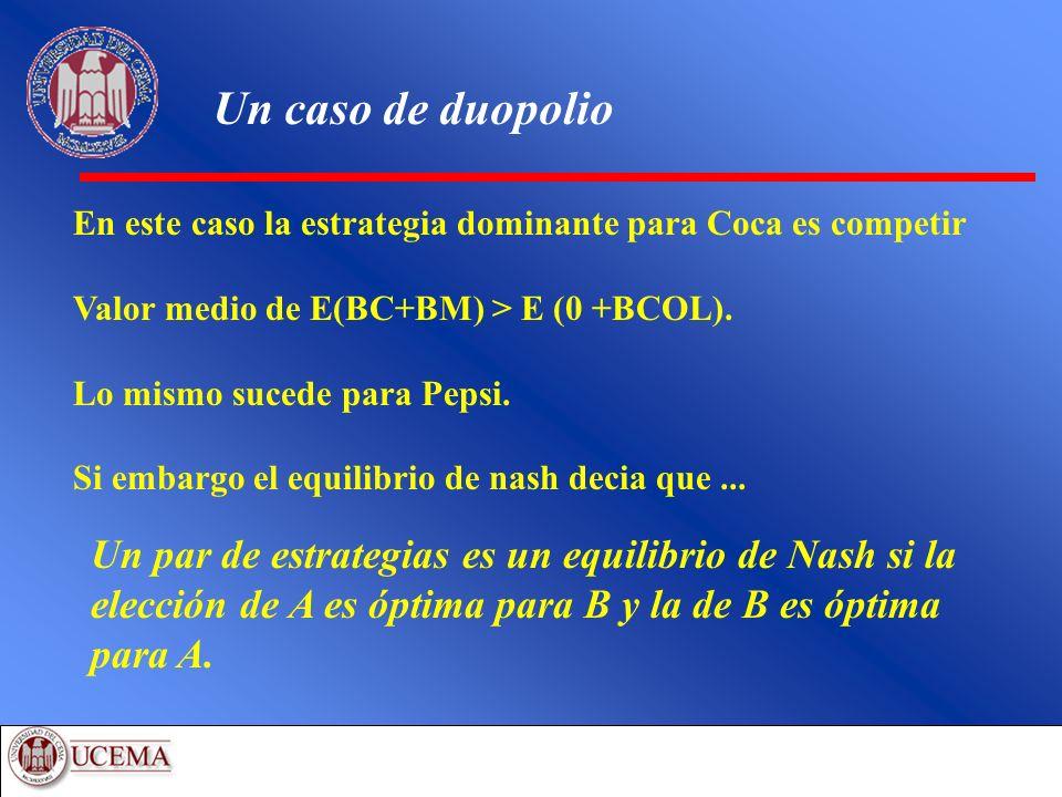 Un caso de duopolio En este caso la estrategia dominante para Coca es competir Valor medio de E(BC+BM) > E (0 +BCOL). Lo mismo sucede para Pepsi. Si e