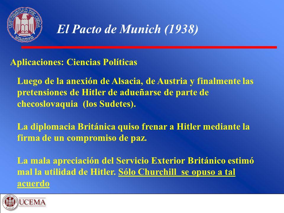 El Pacto de Munich (1938) Aplicaciones: Ciencias Políticas Luego de la anexión de Alsacia, de Austria y finalmente las pretensiones de Hitler de adueñ