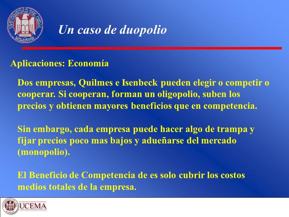 Un caso de duopolio Aplicaciones: Economía Dos empresas, Quilmes e Isenbeck pueden elegir o competir o cooperar. Si cooperan, forman un oligopolio, su