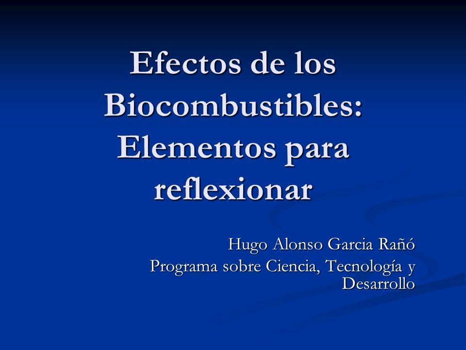 Efectos de los Biocombustibles: Elementos para reflexionar Hugo Alonso Garcia Rañó Programa sobre Ciencia, Tecnología y Desarrollo