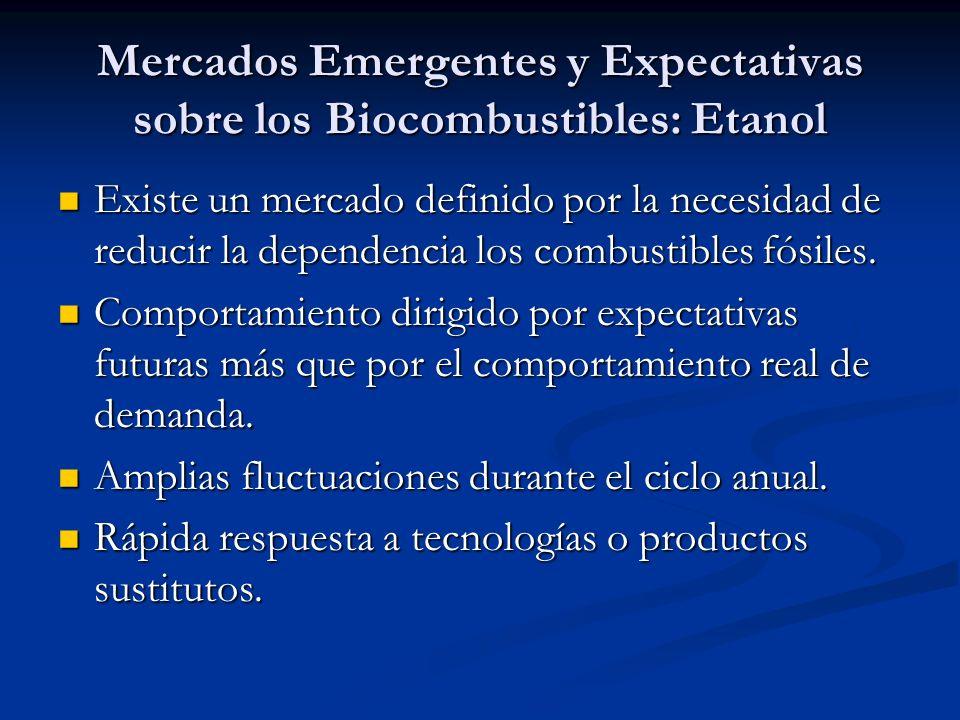 Mercados Emergentes y Expectativas sobre los Biocombustibles: Etanol Existe un mercado definido por la necesidad de reducir la dependencia los combustibles fósiles.