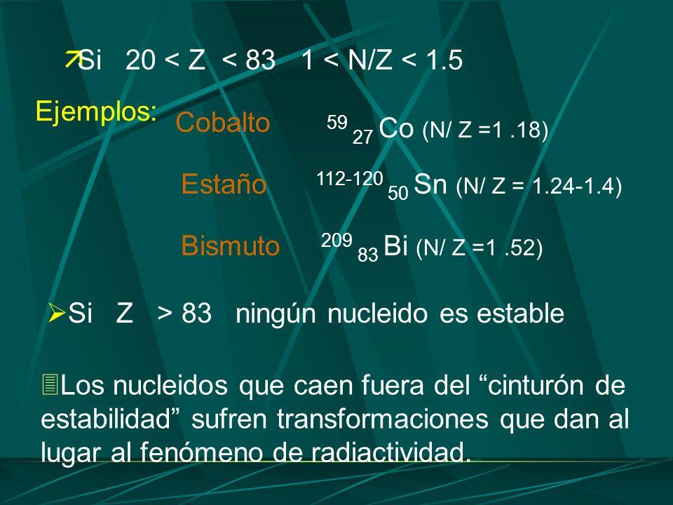 Si 20 < Z < 83 1 < N/Z < 1.5 Si Z > 83 ningún nucleido es estable Los nucleidos que caen fuera del cinturón de estabilidad sufren transformaciones que