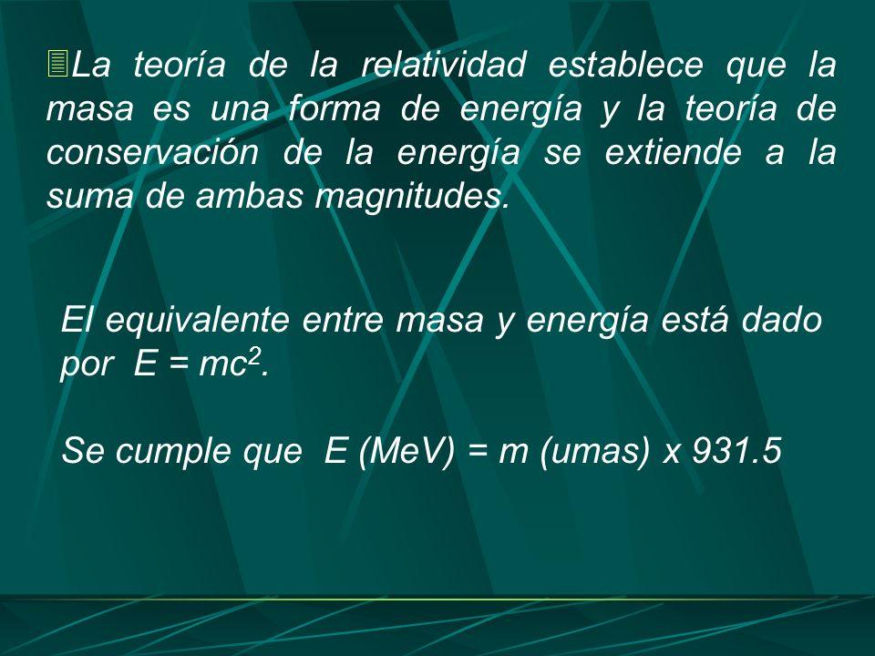 La teoría de la relatividad establece que la masa es una forma de energía y la teoría de conservación de la energía se extiende a la suma de ambas mag