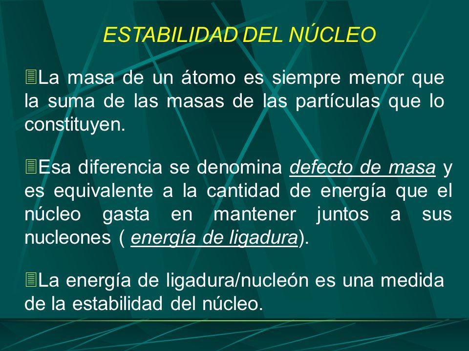 Esa diferencia se denomina defecto de masa y es equivalente a la cantidad de energía que el núcleo gasta en mantener juntos a sus nucleones ( energía