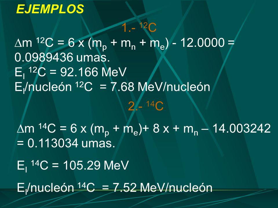 1.- 12 C m 12 C = 6 x (m p + m n + m e ) - 12.0000 = 0.0989436 umas. E l 12 C = 92.166 MeV E l /nucleón 12 C = 7.68 MeV/nucleón EJEMPLOS 2.- 14 C m 14
