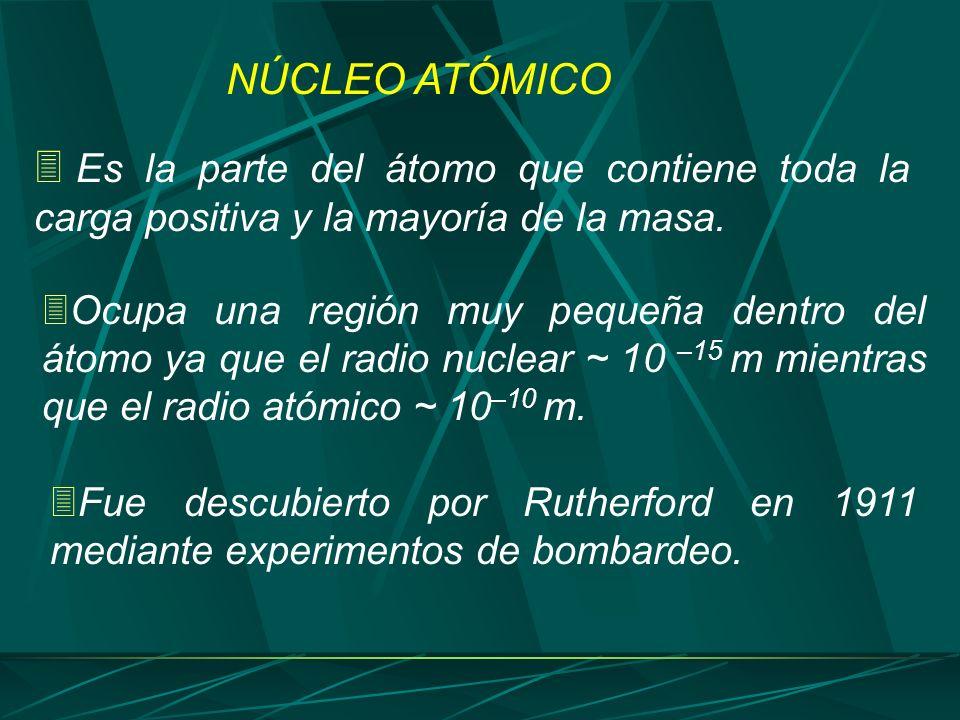 Es la parte del átomo que contiene toda la carga positiva y la mayoría de la masa. Ocupa una región muy pequeña dentro del átomo ya que el radio nucle