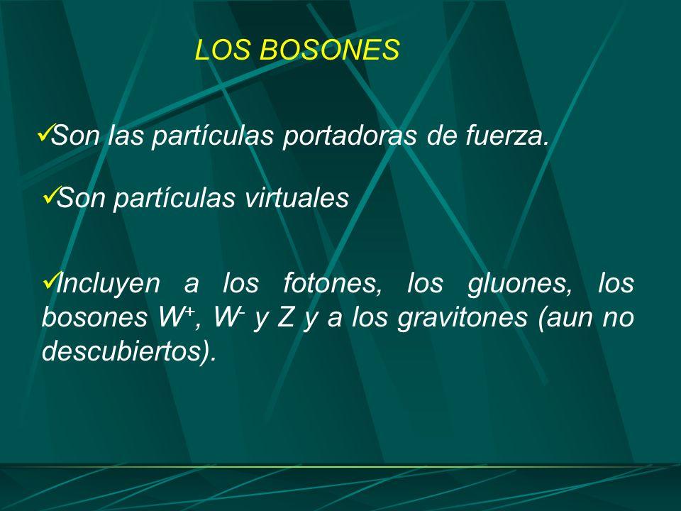 Son las partículas portadoras de fuerza. LOS BOSONES Incluyen a los fotones, los gluones, los bosones W +, W - y Z y a los gravitones (aun no descubie