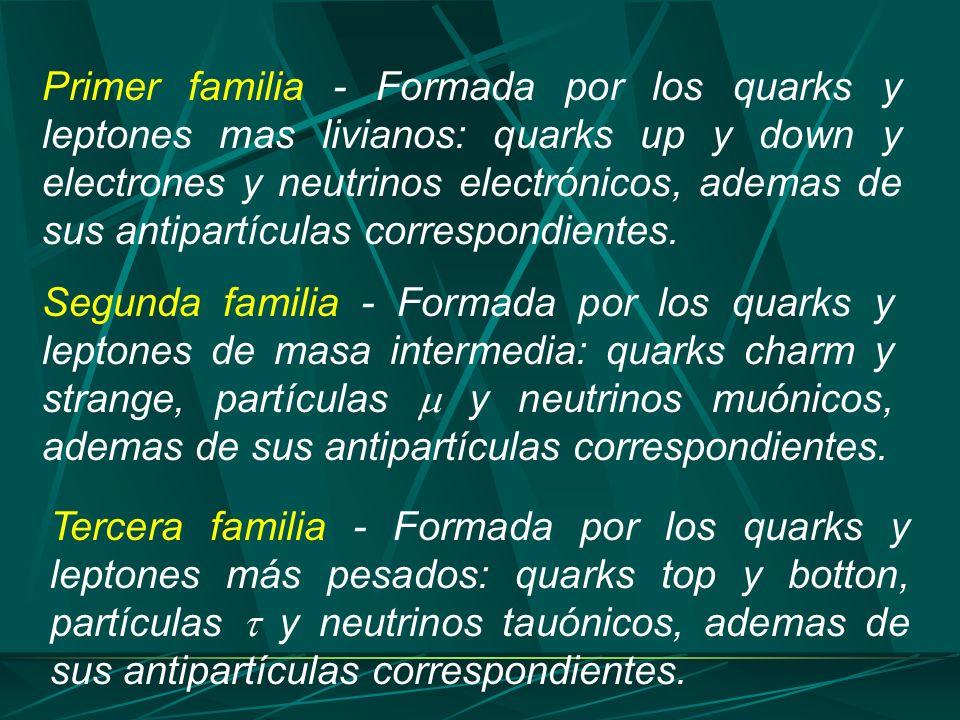 Primer familia - Formada por los quarks y leptones mas livianos: quarks up y down y electrones y neutrinos electrónicos, ademas de sus antipartículas