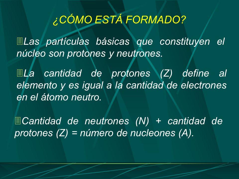 ¿CÓMO ESTÁ FORMADO? Las partículas básicas que constituyen el núcleo son protones y neutrones. La cantidad de protones (Z) define al elemento y es igu
