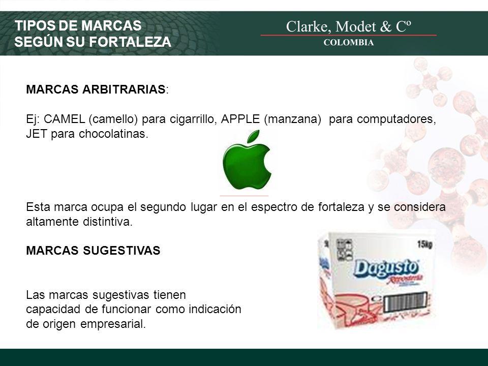 © 2008 Clarke, Modet & Cº MARCAS ARBITRARIAS: Ej: CAMEL (camello) para cigarrillo, APPLE (manzana) para computadores, JET para chocolatinas. Esta marc