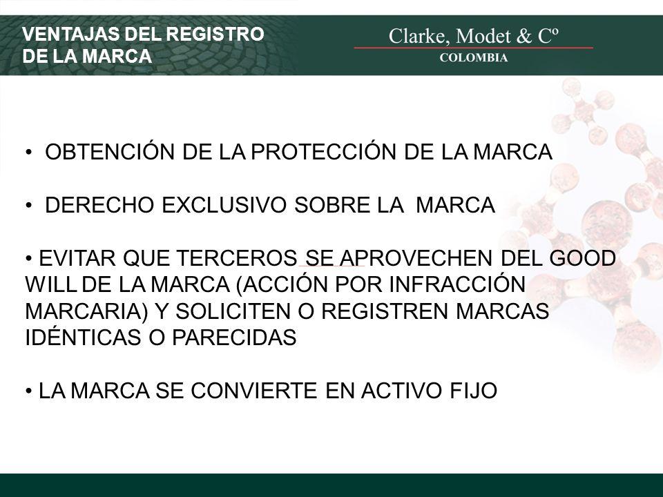 © 2008 Clarke, Modet & Cº VENTAJAS DEL REGISTRO DE LA MARCA OBTENCIÓN DE LA PROTECCIÓN DE LA MARCA DERECHO EXCLUSIVO SOBRE LA MARCA EVITAR QUE TERCERO