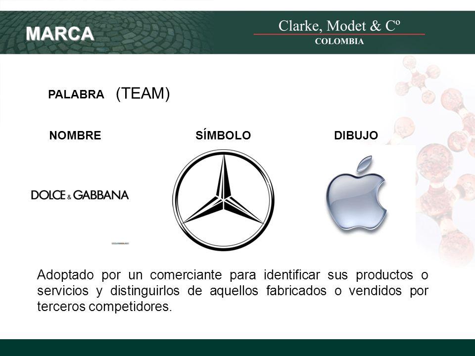© 2008 Clarke, Modet & Cº MARCA PALABRA (TEAM) NOMBRESÍMBOLODIBUJO Adoptado por un comerciante para identificar sus productos o servicios y distinguir