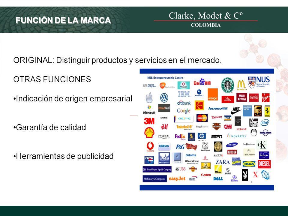 © 2008 Clarke, Modet & Cº FUNCIÓN DE LA MARCA ORIGINAL: Distinguir productos y servicios en el mercado. OTRAS FUNCIONES Indicación de origen empresari