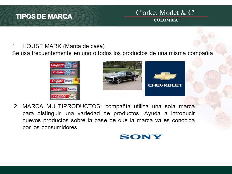 © 2008 Clarke, Modet & Cº TIPOS DE MARCA 1. HOUSE MARK (Marca de casa) Se usa frecuentemente en uno o todos los productos de una misma compañía 2.MARC