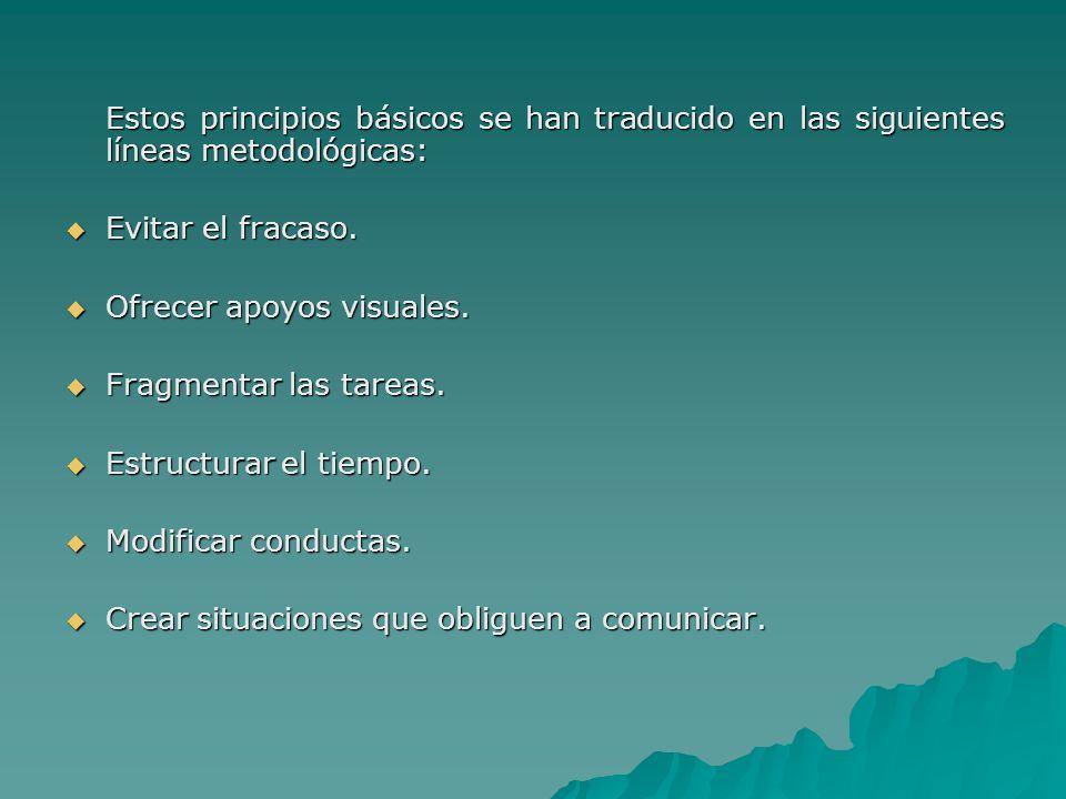 Estos principios básicos se han traducido en las siguientes líneas metodológicas: Evitar el fracaso. Evitar el fracaso. Ofrecer apoyos visuales. Ofrec
