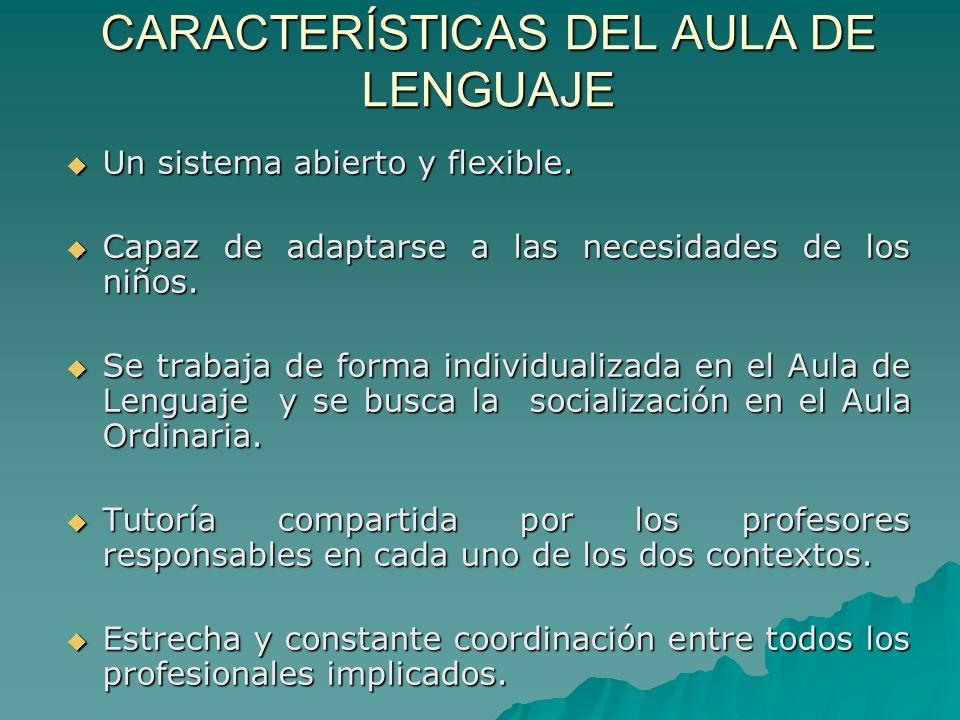 CARACTERÍSTICAS DEL AULA DE LENGUAJE Un sistema abierto y flexible. Un sistema abierto y flexible. Capaz de adaptarse a las necesidades de los niños.