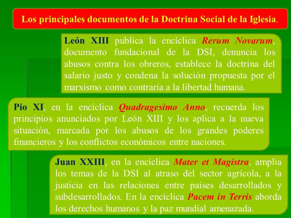 Los principales documentos de la Doctrina Social de la Iglesia.