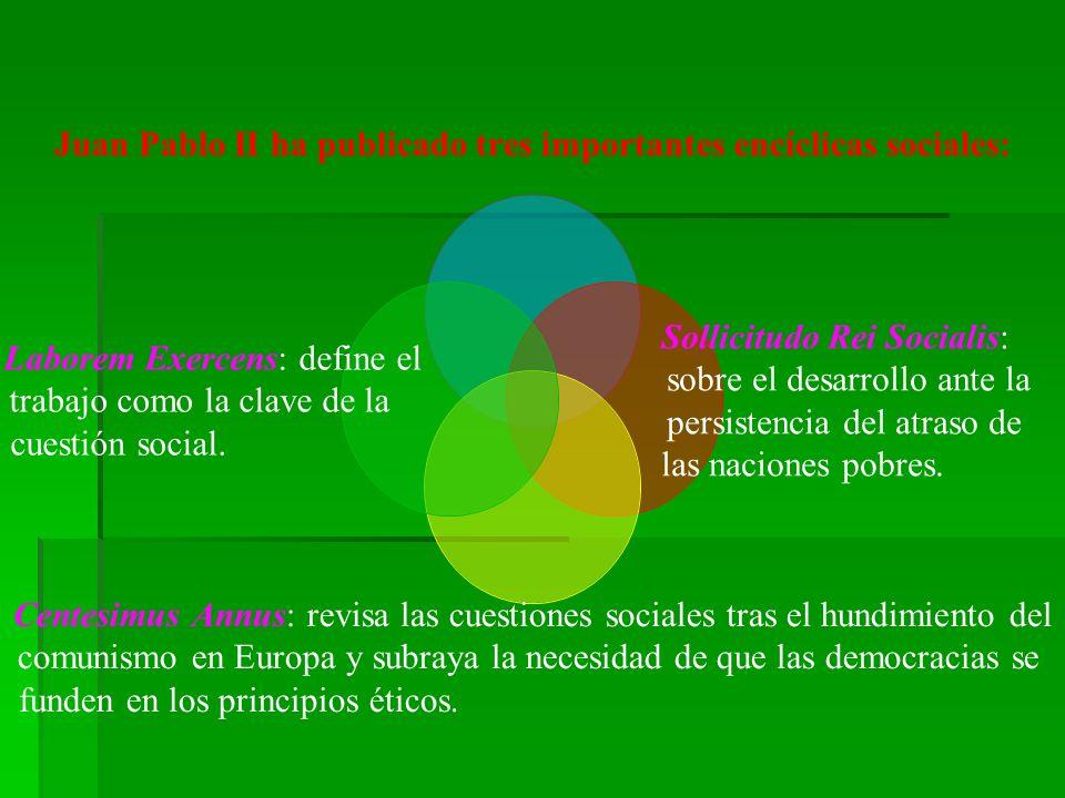 Juan Pablo II ha publicado tres importantes encíclicas sociales: Sollicitudo Rei Socialis: sobre el desarrollo ante la persistencia del atraso de las naciones pobres.