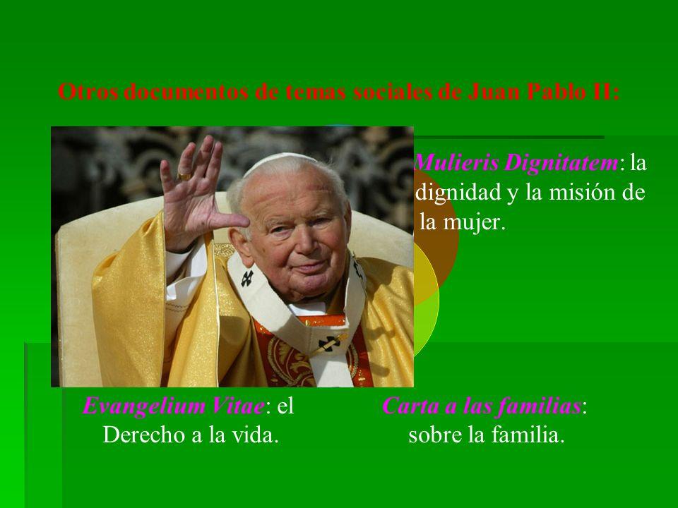 Otros documentos de temas sociales de Juan Pablo II: Mulieris Dignitatem: la dignidad y la misión de la mujer.