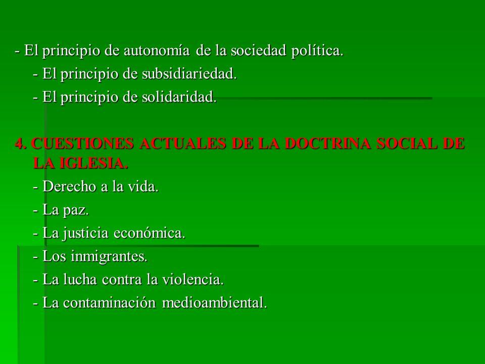 - El principio de autonomía de la sociedad política.