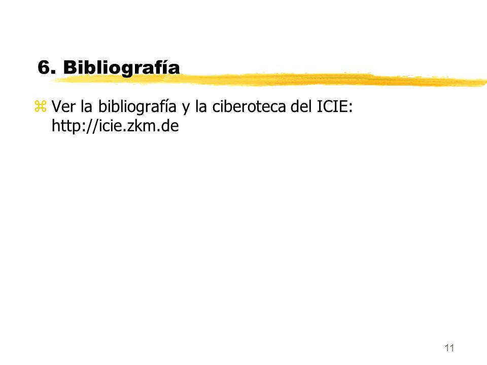 11 6. Bibliografía zVer la bibliografía y la ciberoteca del ICIE: http://icie.zkm.de