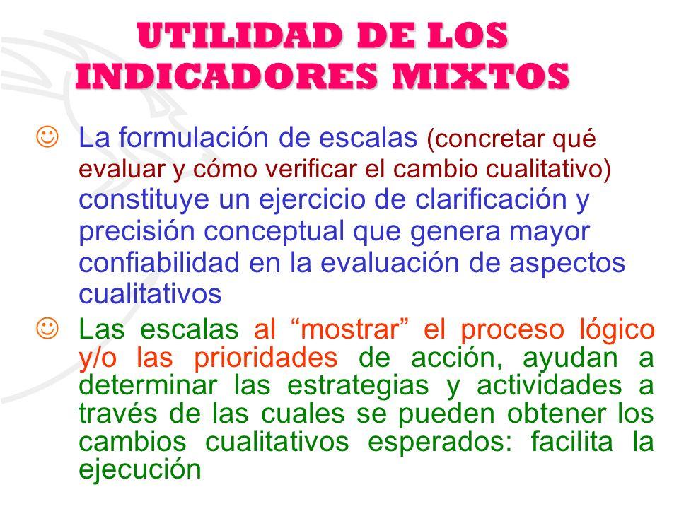 17 UTILIDAD DE LOS INDICADORES MIXTOS La formulación de escalas (concretar qué evaluar y cómo verificar el cambio cualitativo) constituye un ejercicio