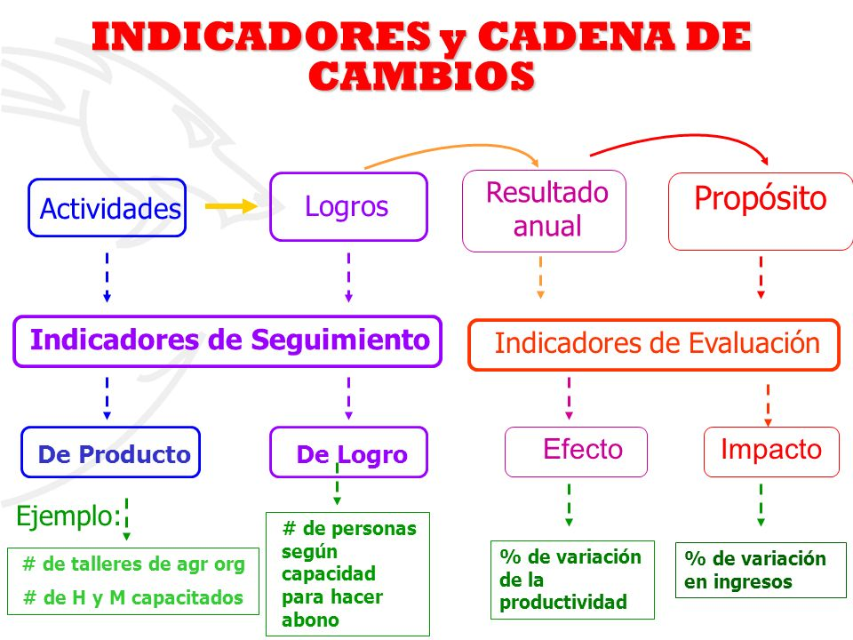 4 Ejemplo: Indicadores de Evaluación # de talleres de agr org # de H y M capacitados De ProductoDe Logro # de personas según capacidad para hacer abon