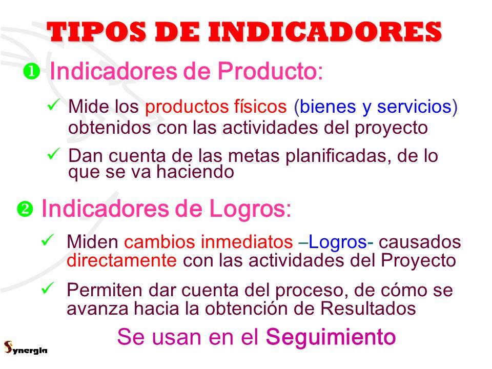 5 TIPOS DE INDICADORES Se usan en el Seguimiento Indicadores de Producto: Mide los productos físicos (bienes y servicios) obtenidos con las actividade