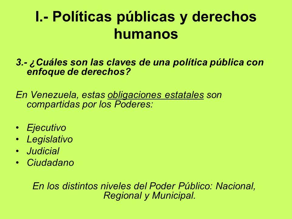 I.- Políticas públicas y derechos humanos 3.- ¿Cuáles son las claves de una política pública con enfoque de derechos? En Venezuela, estas obligaciones