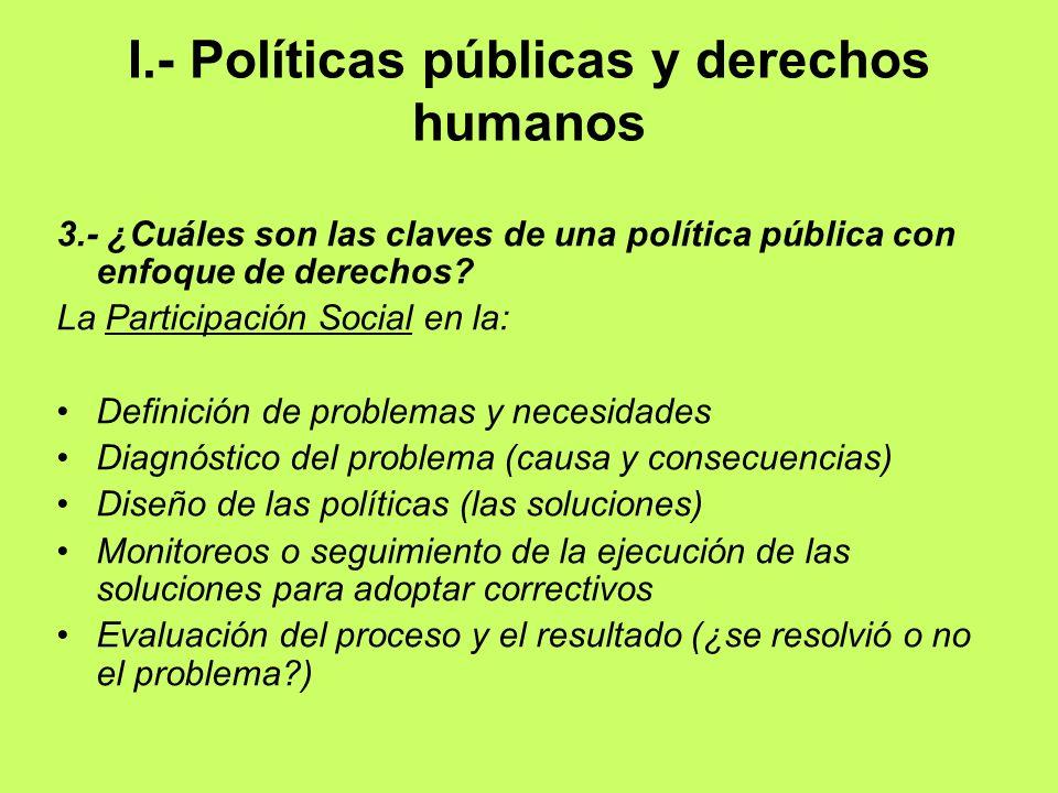 I.- Políticas públicas y derechos humanos 3.- ¿Cuáles son las claves de una política pública con enfoque de derechos? La Participación Social en la: D