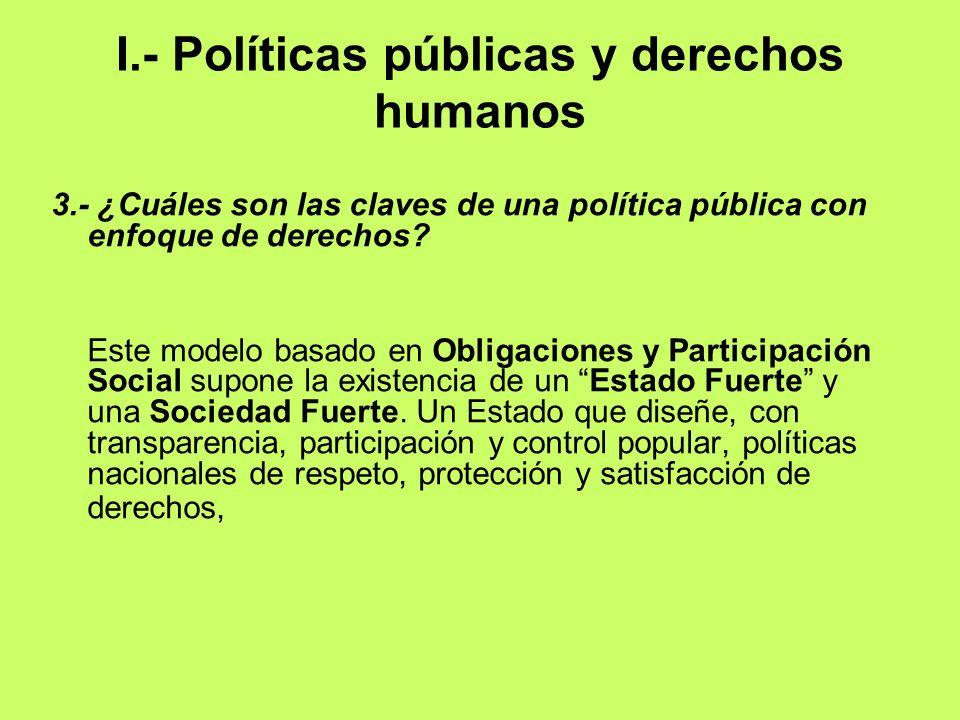 I.- Políticas públicas y derechos humanos 3.- ¿Cuáles son las claves de una política pública con enfoque de derechos? Este modelo basado en Obligacion